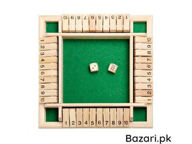 Wooden Traditional Four Sided 10 Number Pub Bar Board Dice Party Game Toy - 2