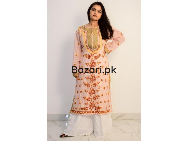 Buy Hand Embroidered Lucknowi Chikan Peach and Red Cotton Kurti - 1