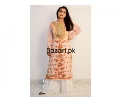 Buy Hand Embroidered Lucknowi Chikan Peach and Red Cotton Kurti